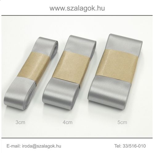 3cm széles szatén szalag 10m C03-ezüst
