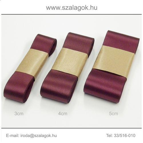 3cm széles szatén szalag 10m C13B-világos bordó