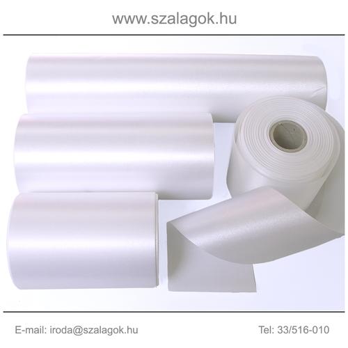 10cm széles szatén szalag 25m  C01-fehér