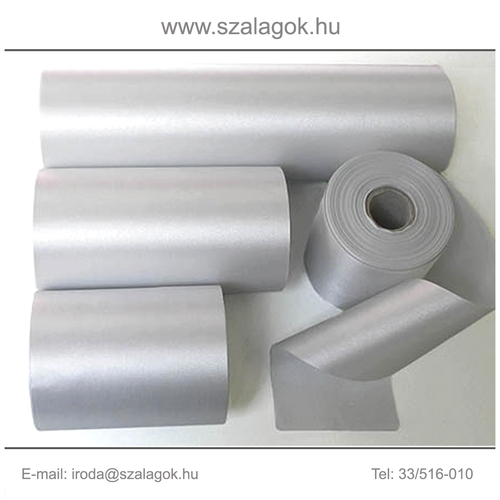 10cm széles szatén szalag 25m C03-ezüst
