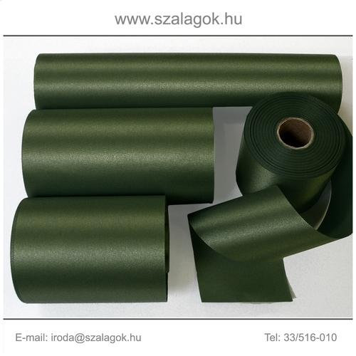 10cm széles szatén szalag 25m C05-olajzöld
