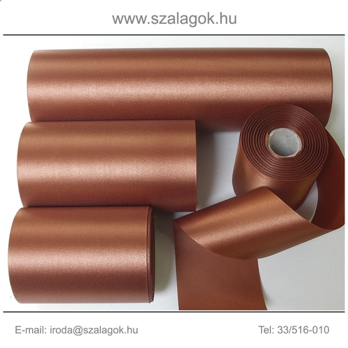 14cm széles szatén szalag 25m C08-rozsdabarna