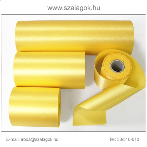 14cm széles szatén szalag 25m C30-napsárga
