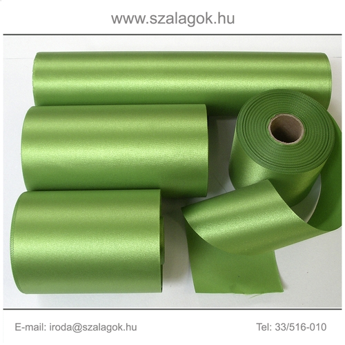10cm széles szatén szalag 25m C35-fűzöld