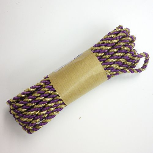 Püspöklila-arany 2 ágú sodrott zsinór 3mm