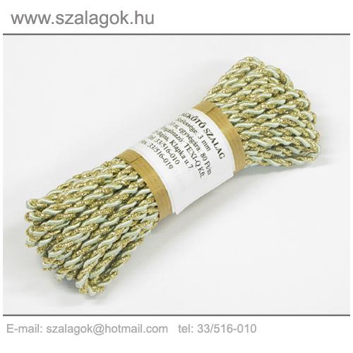 Arany-almazöld 2ágú sodrott zsinór