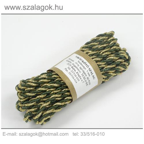 Arany-olajzöld 2ágú sodrott zsinór
