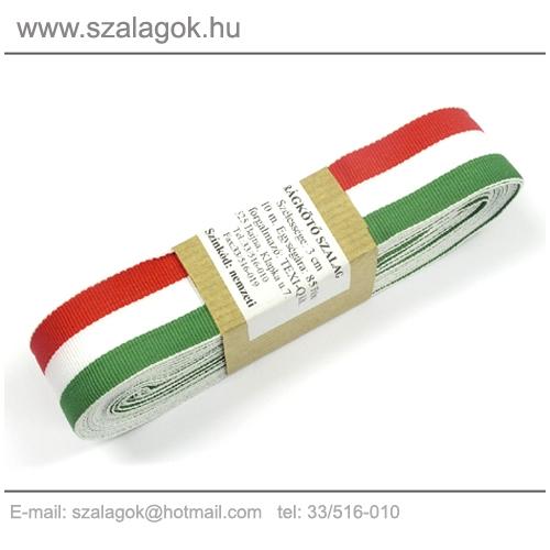 30mm széles szövött nemzeti színű szalag 10m/cs.