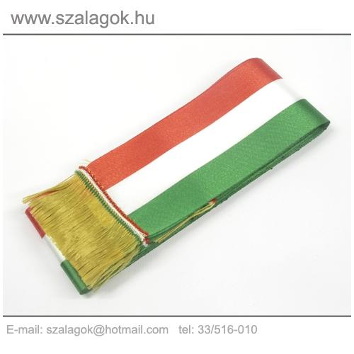 12 X 200cm-es nemzeti szalag, arany rojtos - 5db/cs