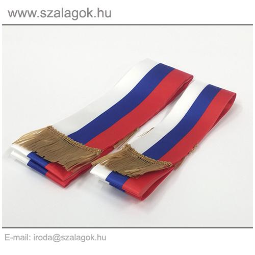7 X 170cm-es Szlovák, Szerb, Orosz szalag, arany rojtos - 2db/cs