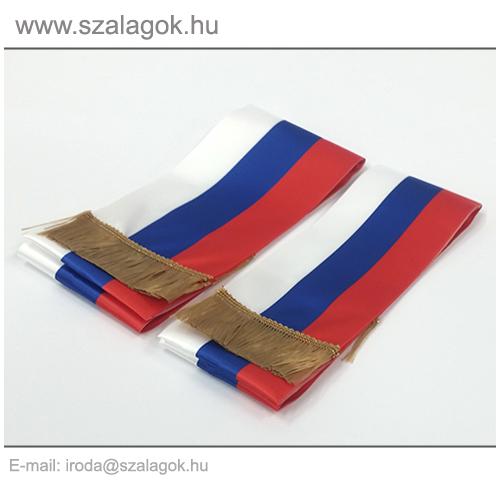 9 X 200cm-es Szlovák, Szerb, Orosz szalag, arany rojtos - 2db/cs